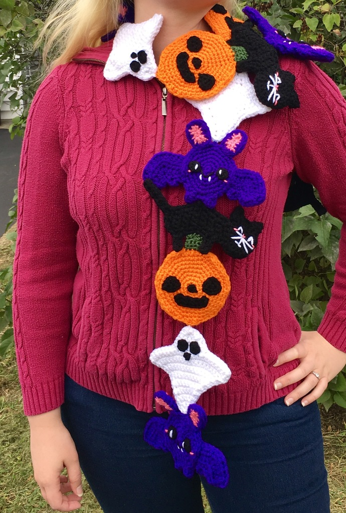 Kawaii Halloween Scarf Crochet Pattern - Pumpkin, Ghost, Bat, Cat Scarf -