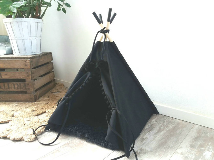 Pet teepee including fake fur or cotton pillow, dog bed,cat teepee tent, tipi,