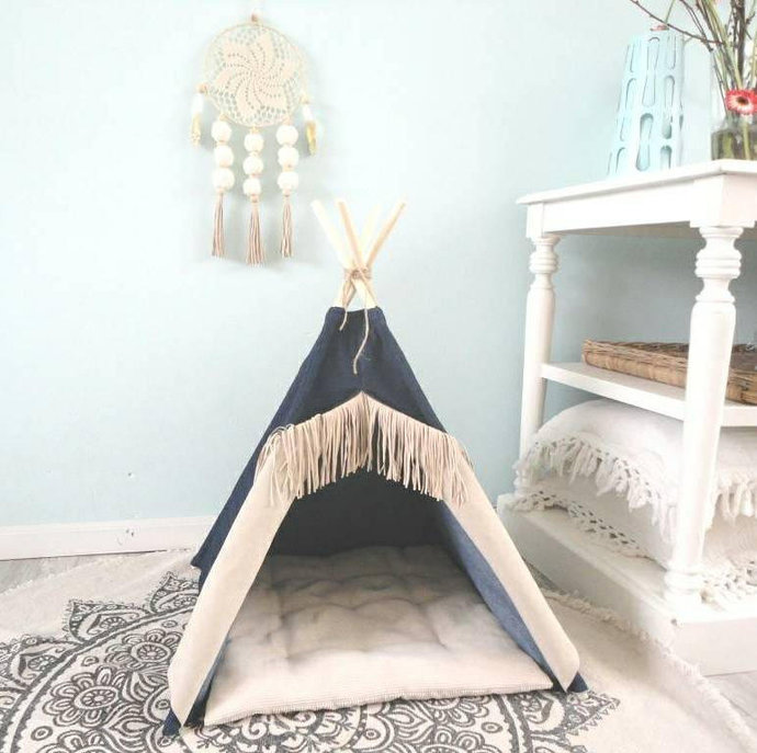 Pet teepee including pillow, dog house, cat bed, tent, tipi, jeans, fringe,
