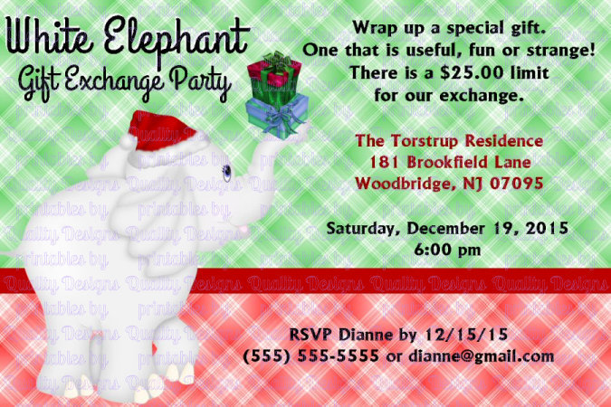 White Elephant, Winter, Christmas, Printable Invitation, DIY