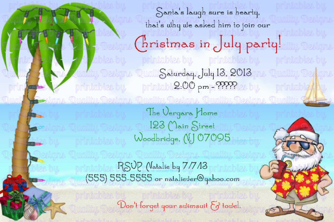 Christmas in July, Santa, Snowman  Winter, Christmas, Printable Invitation, DIY
