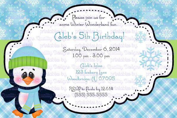 Penguin, Winter, Christmas, Printable Invitation, DIY