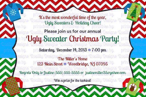 Ugly Sweater, Winter, Christmas, Printable Invitation, DIY