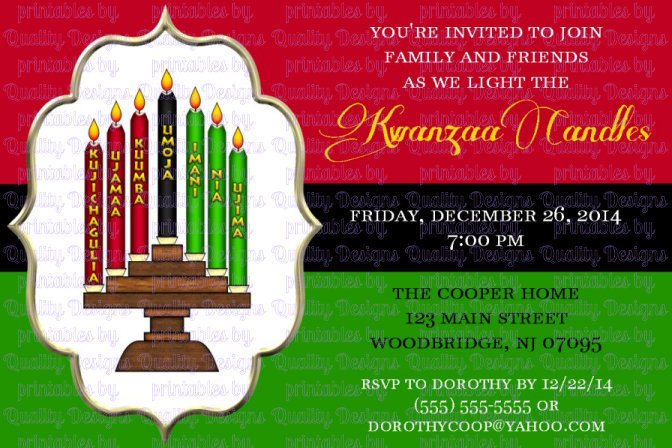 Kwanzaa Candles, Winter, Kwanzaa, Printable Invitation, DIY