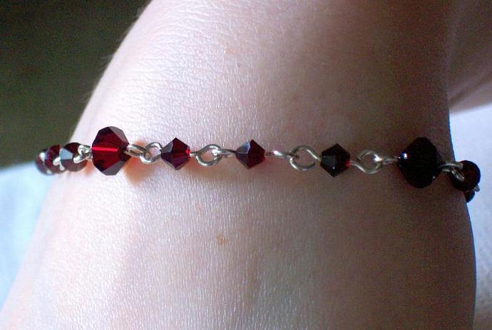 Garnet Swarovski Crystal and Silver-Plated Bracelet