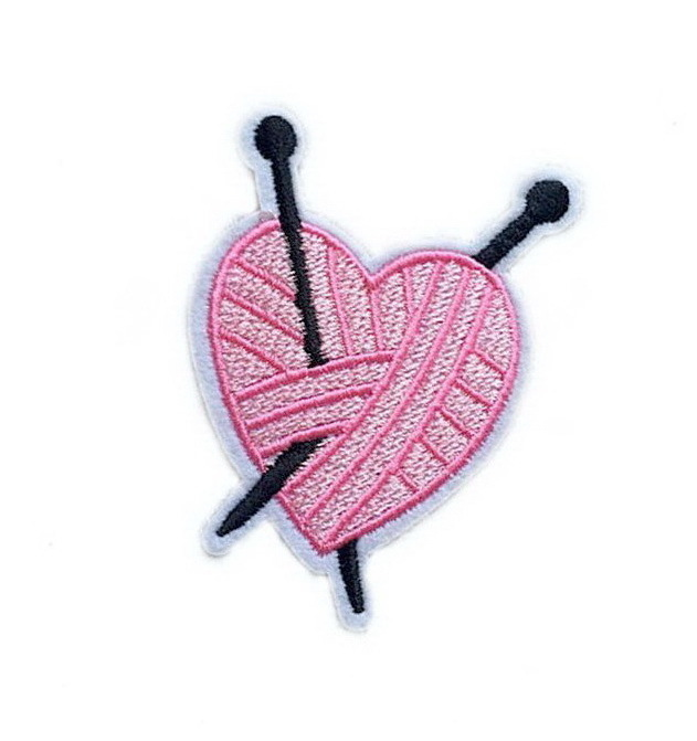 Heart Pink Patch Embroidered Iron on Patches Clothes Appliques Sew Crafts