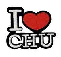 I heart Chu Patch Embroidered Iron on Patches Clothes Appliques Sew Crafts