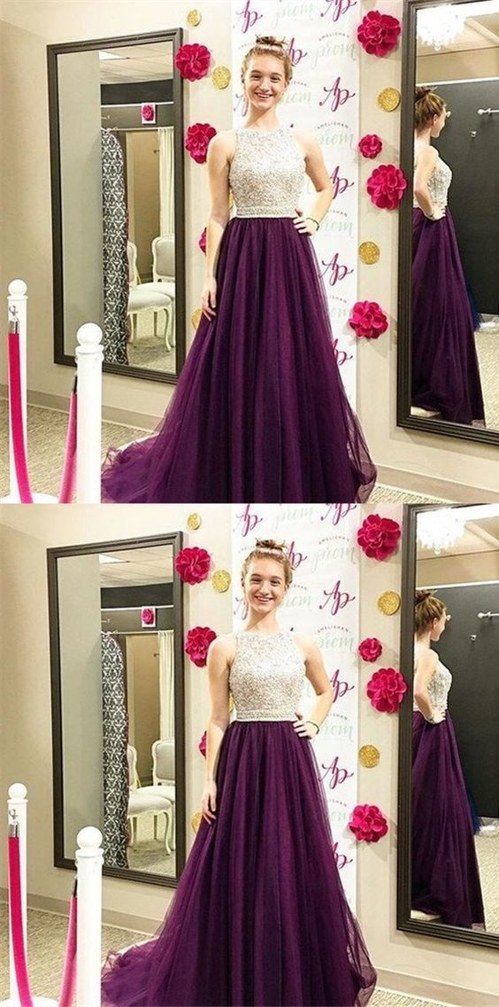 A-Line Bateau Purple Beaded Tulle Prom Dress with Appliques