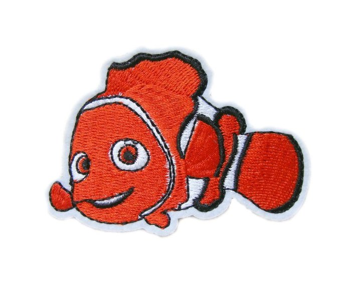 Red Clownfish Embroidered Iron on Patches Clothes Appliques Sew Crafts