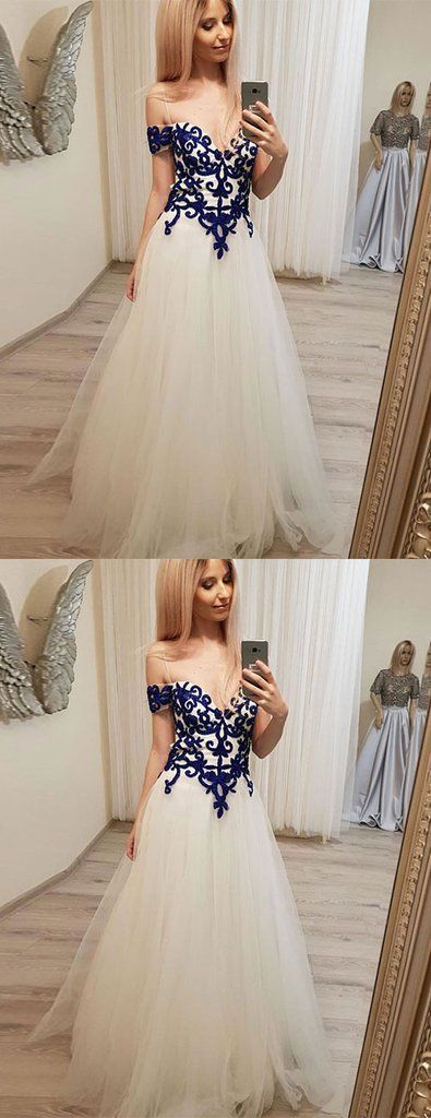 UNIQUE SWEETHEART LACE TULLE LONG PROM DRESS, TULLE EVENING DRESS