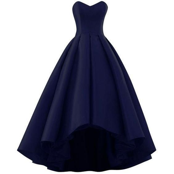 Navy Blue Satin High Low Wedding Party Dress, Beautiful Prom Dress, Prom Dress