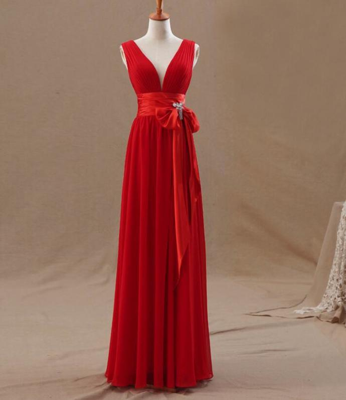 Red Chiffon Simple V-neckline Long Bridesmaid Dress, Red Party Dress 2019