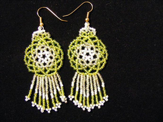 Green Transparent Mandala Shield Earrings