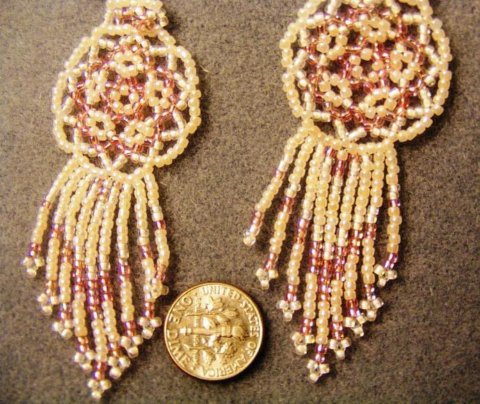 Pink Cream Bead Weave Mandala Shield Earrings
