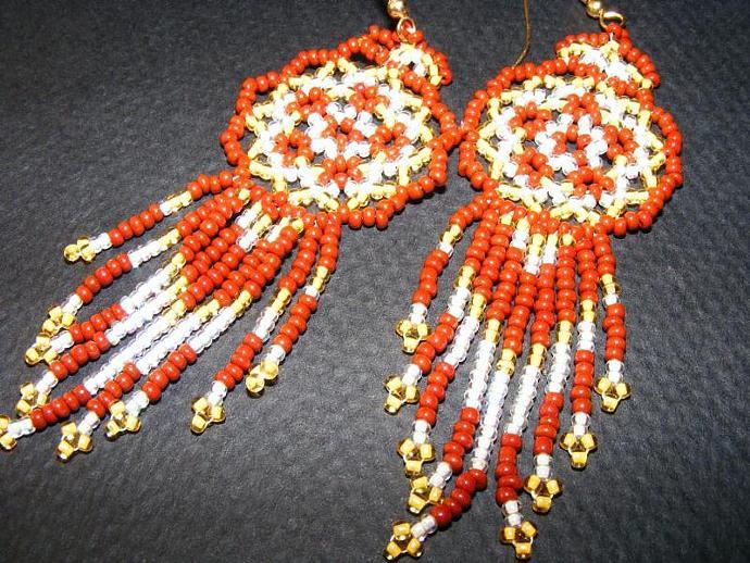 Caramel Sunshine Bead Weave Mandala Shield Earrings