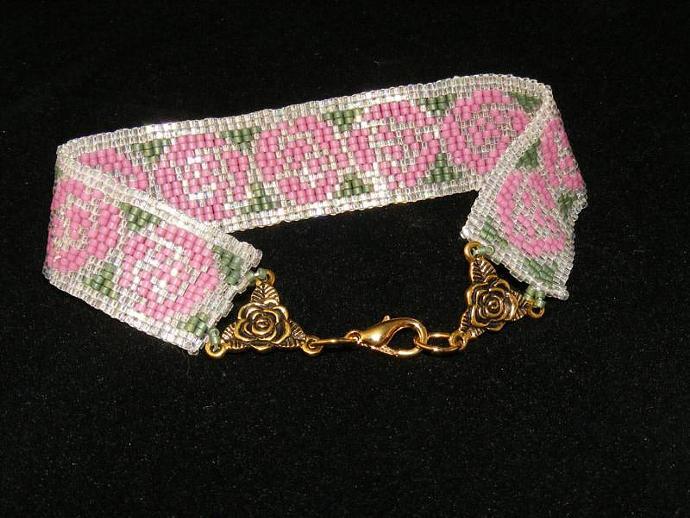 Nouveau Rose Bracelet Two Drop Peyote