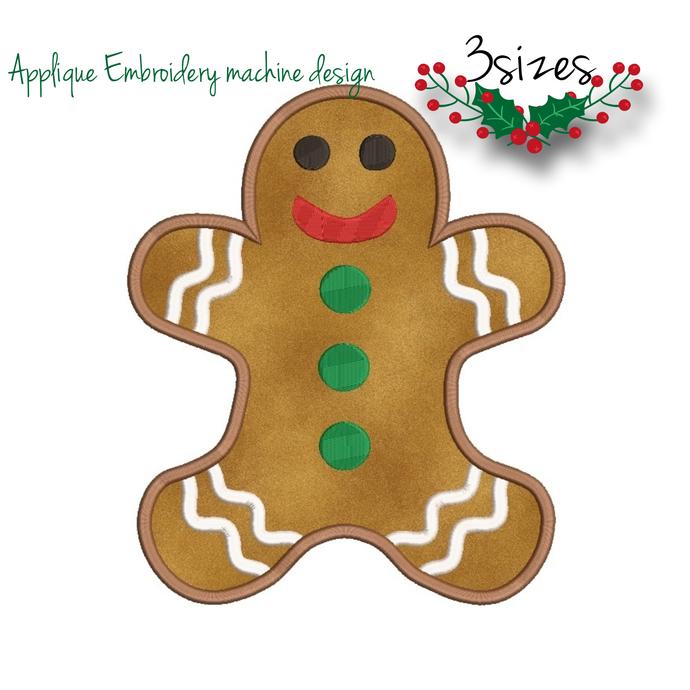 Gingerbread Embroidery Machine Designs Applique design