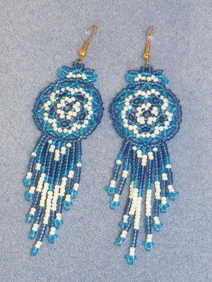 Blue on Blue Bead Weave Mandala Shield Earrings