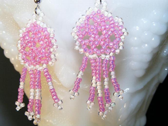 Frosted Pink Mandala Shield Earrings