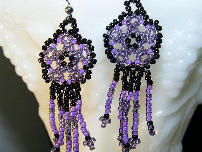 Deep Purple Beaded Mandala Shield Earring