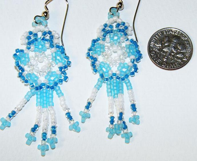 Pale Sea Foam Blue Mandala Shield Earrings