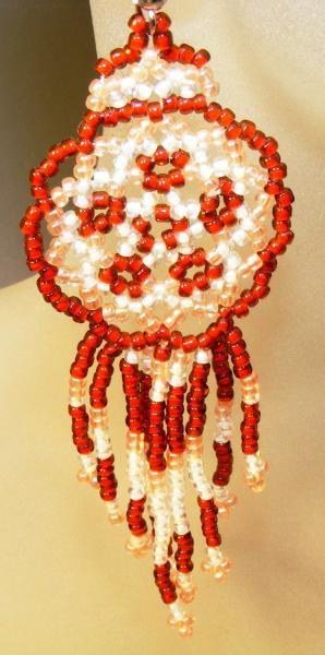 Caramel and Peach Mandala Shield Earrings