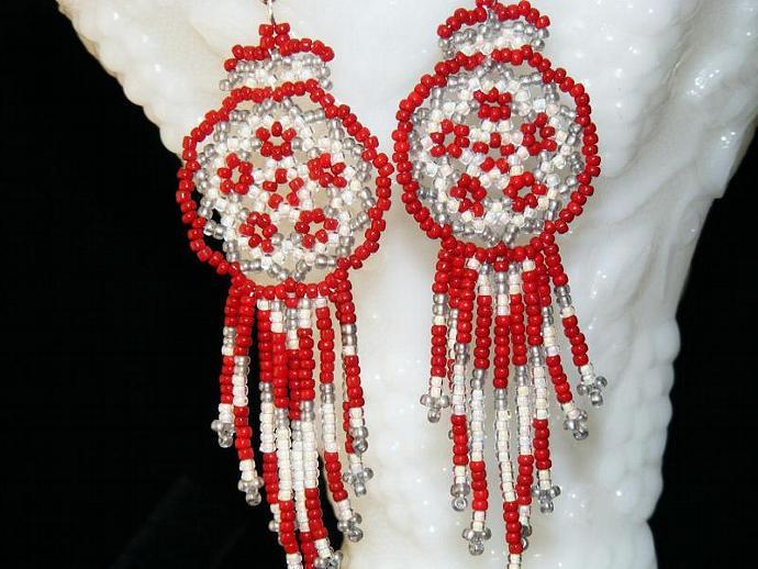 Cardinal Mandala Shield Earrings