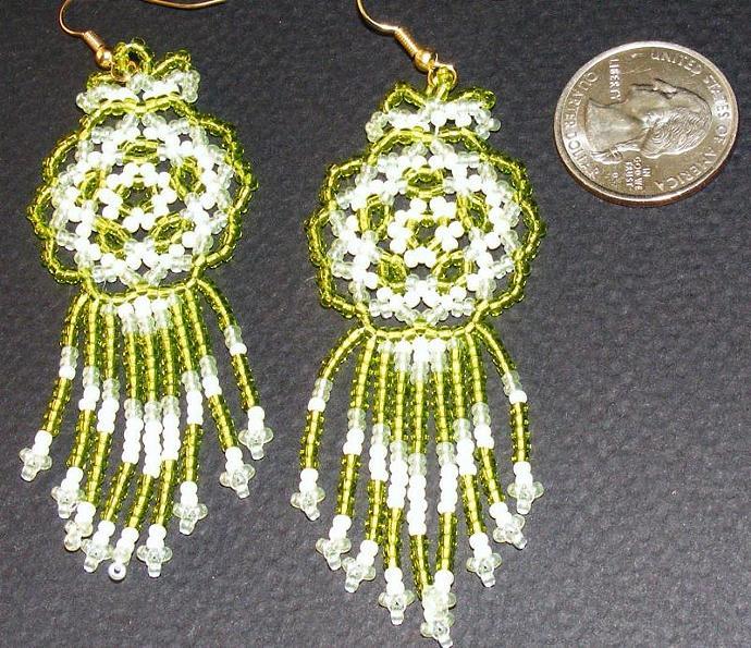 Cool Lime Bead Weave Mandala Shield Earrings