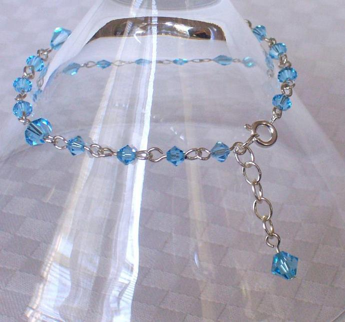 Aquamarine Swarovski Crystal - Silver Plated Bracelet