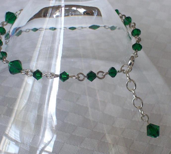 Emerald Swarovski Crystal - Silver Plated Bracelet