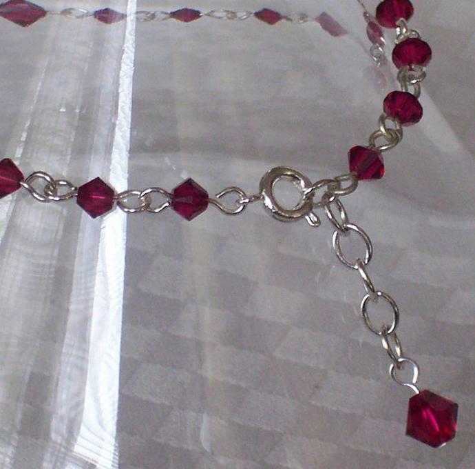 Ruby Swarovski Crystal - Silver Plated Bracelet