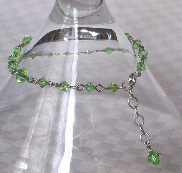 Peridot Swarovski Crystal - Silver Plated Bracelet