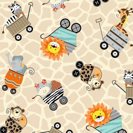 Yardage Cotton Quilt Fabric Bungle Jungle Animals In Carriages Baby Zoo Animals
