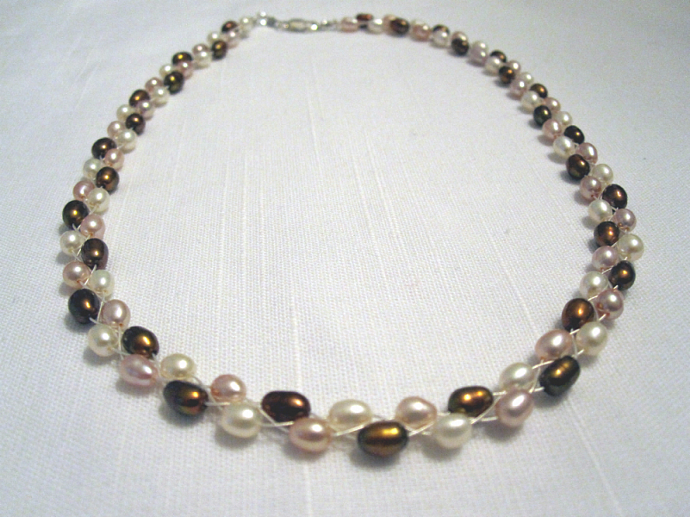 "16"" Braided Pearl & Sterling Silver Necklace"