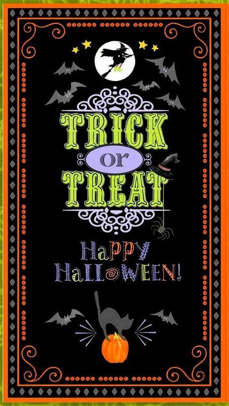 """Cotton Quilt Fabric  Here For The Boos Halloween Fabric 24"""" Panel"""
