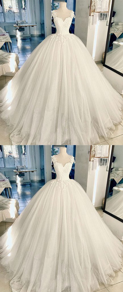 White lace tulle long prom dress, white lace wedding dress
