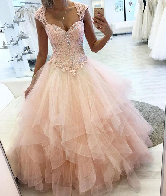 8d77aa26e Pink sweetheart lace tulle long prom dress, pink by lass on Zibbet