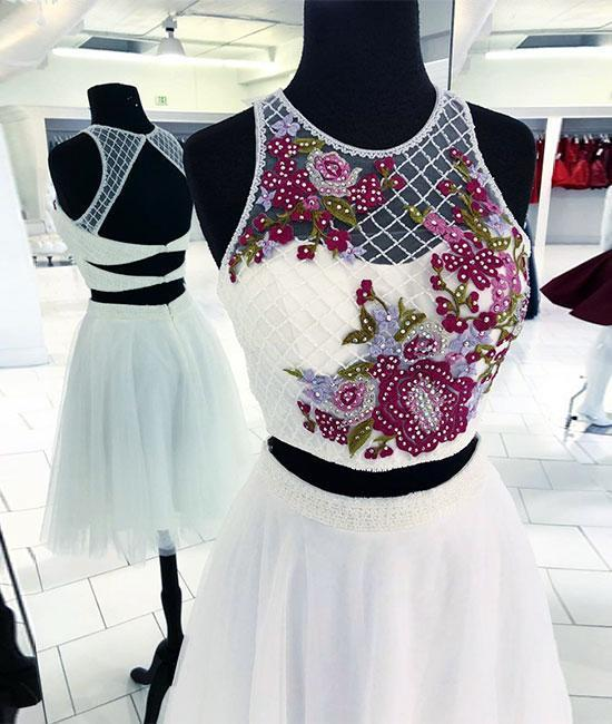 White round neck two pieces beads short prom dress, white homecoming dress