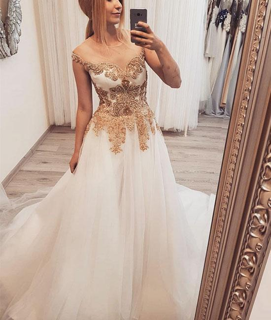 White round neck tulle lace applique long prom dress, white evening dress