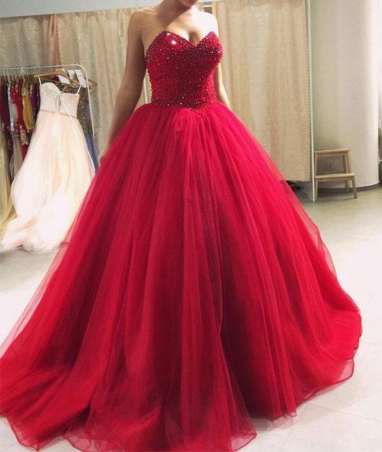 Burgundy sweetheart neck tulle sequin long prom dress, tulle evening dress