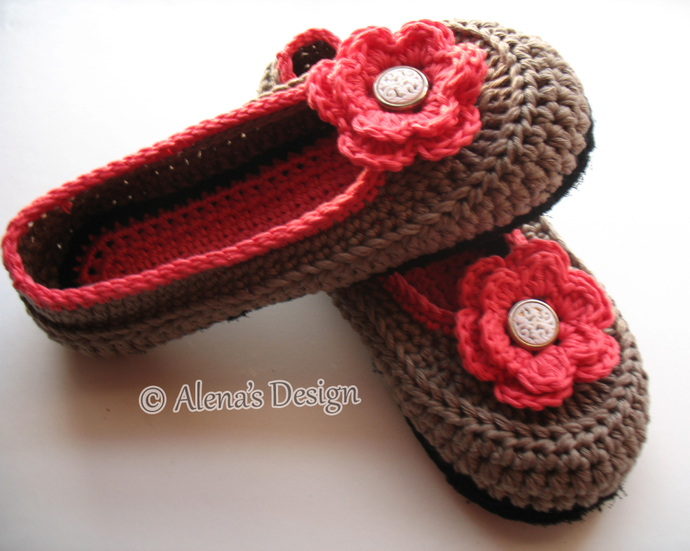 Crochet Pattern 074 Crochet Slippers Pattern By Alenasdesign On Zibbet