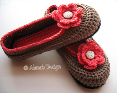 415249818c7 Crochet Pattern 074 Crochet Slippers Pattern Women s Slippers Amy Flower  Booties Pattern Teen Ladies Women Adult Shoes Red White Brown