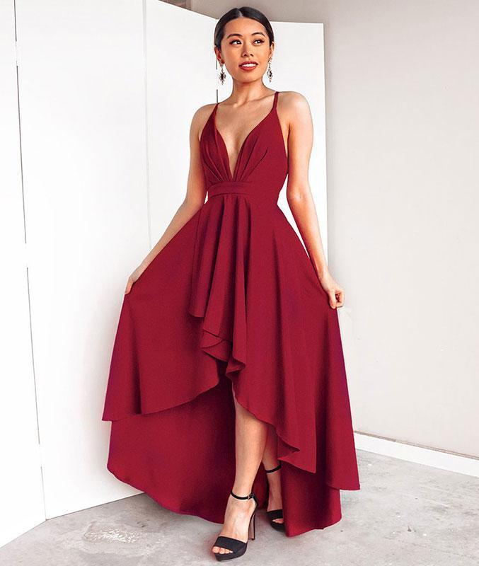 Simple v neck burgundy chiffon prom dress, burgundy evening dress