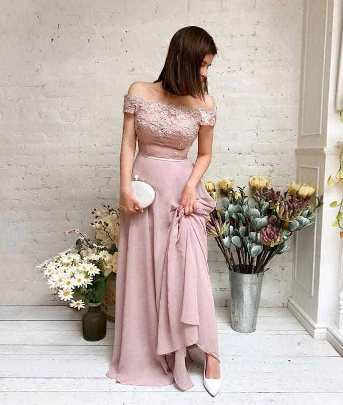 Pink chiffon lace off shoulder long prom dress, pink bridesmaid dress