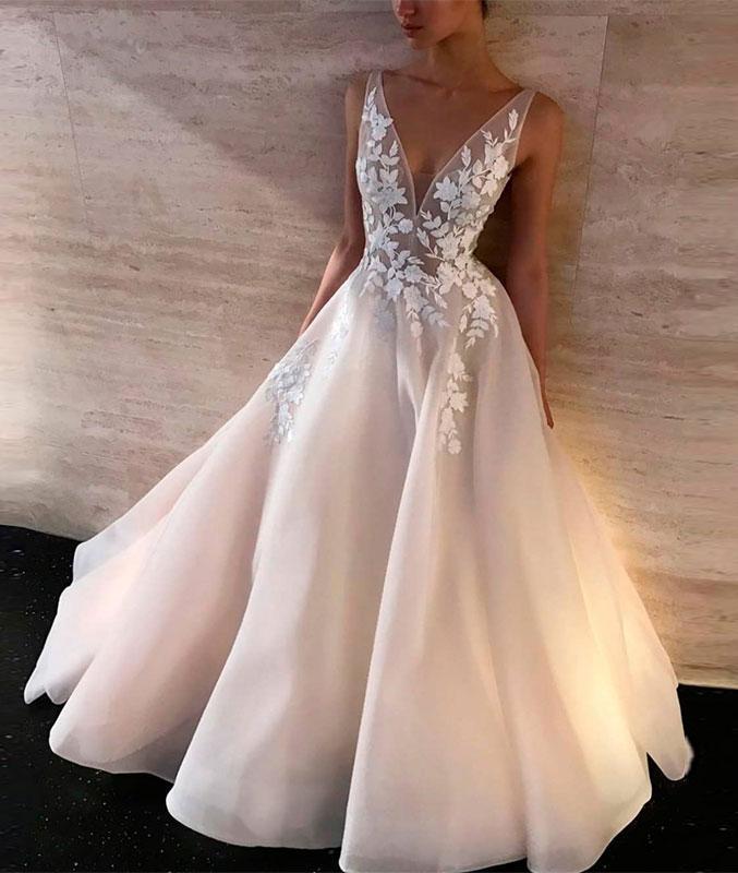 White v neck lace long prom dress, white lace evening dress