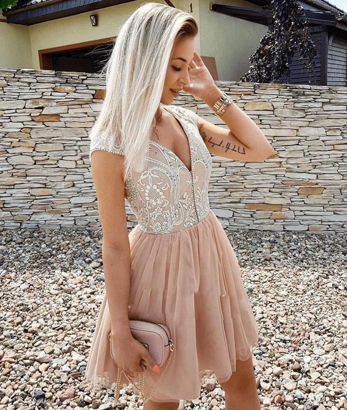Champagne v neck tulle short prom dress, tulle homecoming dress