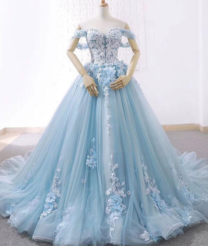 Blue sweetheart tulle lace long prom dress, blue wedding dress
