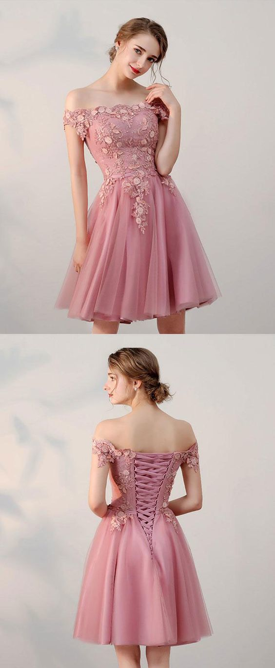 4503bc2fa1e Pink lace tulle short prom dress