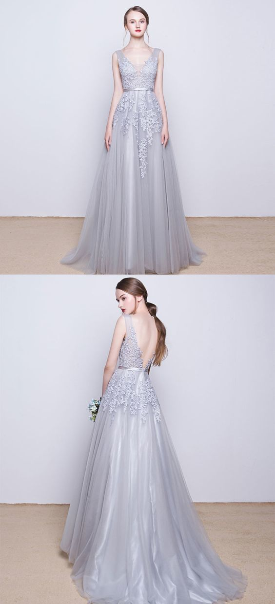 c6deea06a4b Gray v neck tulle lace long prom dress