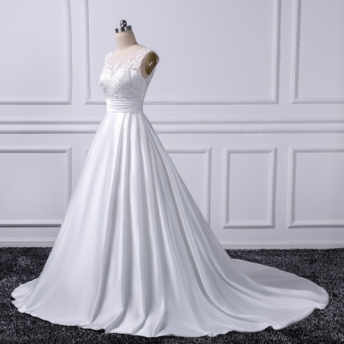 Low Back Wedding Dresses,Chapel Train Bridal Gowns,Ivory Satin Bridal Dresses